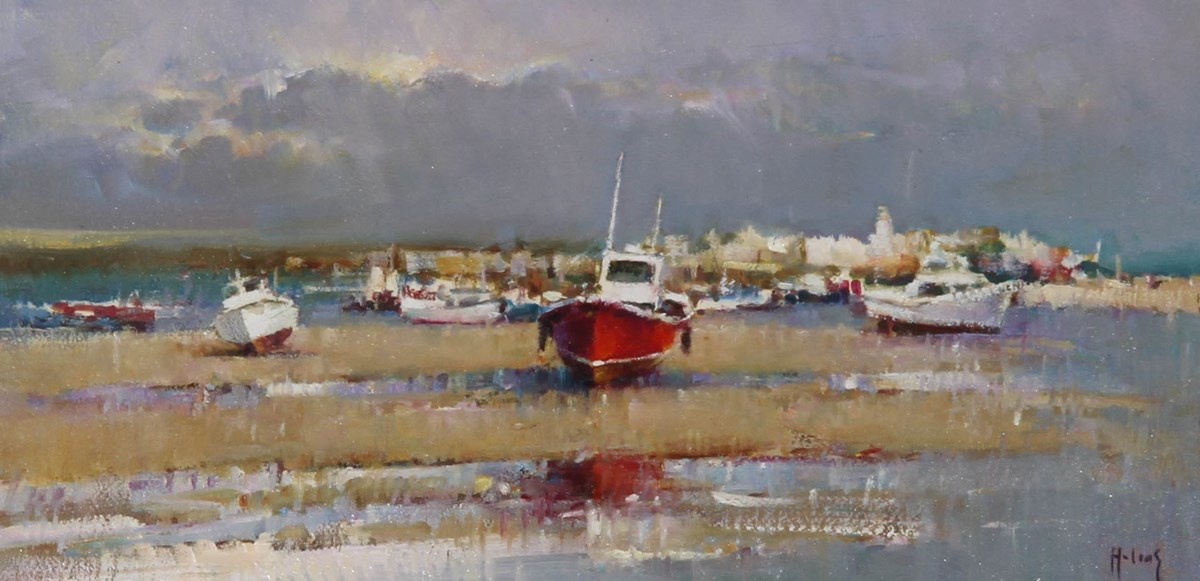 Boatyard Reflections VI by helios - Original on Board sized 16x8 inches. Available from Whitewall Galleries